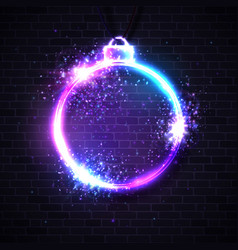 christmas neon sign xmas decoration background vector image