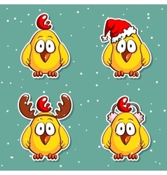 Christmas Stickers Funny Chicks vector image