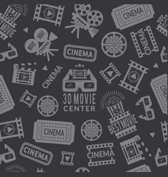 cinema pattern seamless background with symbols vector image