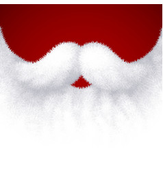 Closeup white santa beard on red background vector