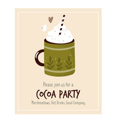 cocoa party invitation template with decorative vector image