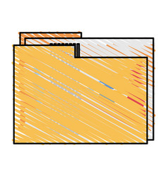 Color crayon stripe image documents folder with vector