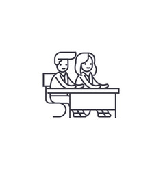 couple students at a desk line icon sign vector image