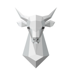Cow head polygonal white model vector