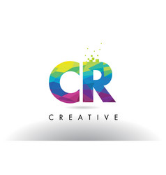 Cr c r colorful letter origami triangles design vector