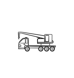 crane truck hand drawn outline doodle icon vector image