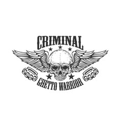 criminal ghetto warrior skull with wings and vector image