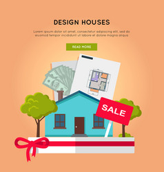 Design houses conceptual web banner in flat design vector