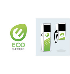 Eco electro automobile battery charging station vector