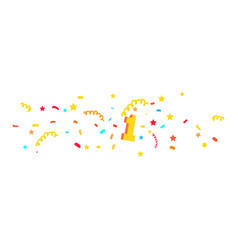 first place with colored confetti vector image