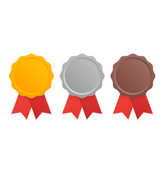 first second and third place award medals set vector image