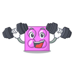 Fitness toy brick character cartoon vector