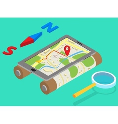 Flat 3d isometric mobile GPS navigation maps vector