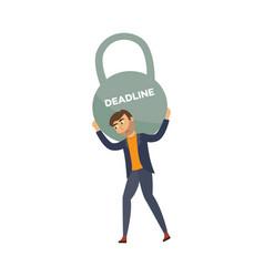 Flat businessman with kettlebell deadline vector