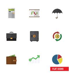 Flat icon incoming set calculate portfolio vector