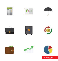 Flat icon incoming set of calculate portfolio vector