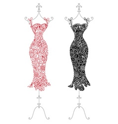 Floral dresses on a stand vector