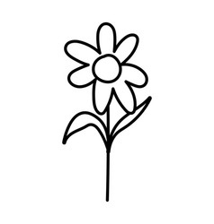 flower stem leaves foliage decoration icon thick vector image