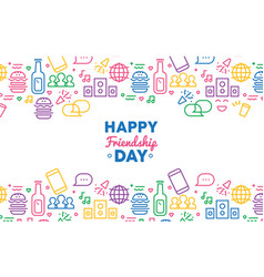 Friendship day colorful party icon greeting card vector