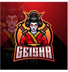 Geisha esport mascot logo design vector