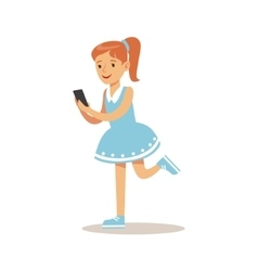 Girl with ponytail and smartphone child and vector