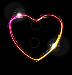 glowing neon yellow and pink heart abstract vector image