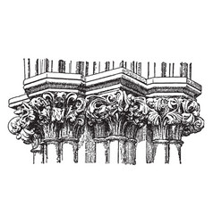 Gothic capitals out vintage engraving vector