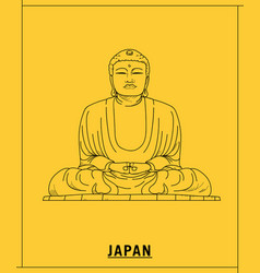 great buddha of kamakurahand drawn sketch vector image
