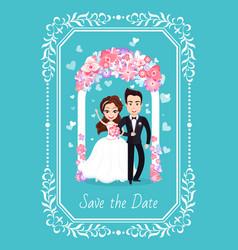 Groom and bride wedding ceremony card vector
