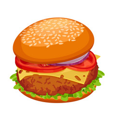 Hamburger with cutlet piece of cheese lettuce vector