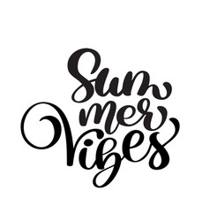 handwriting summer vibes lettering logo vector image