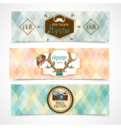 Hipster banners horizontal vector image