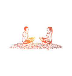 husband and wife sitting in lotus position vector image