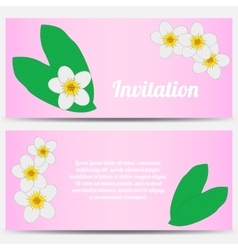 Invitation with tropical plumeria on a pink vector