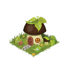 isometric cartoon fantasy mushroom village house vector image