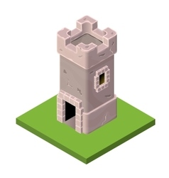 Isometric icon of medieval tower or prison vector
