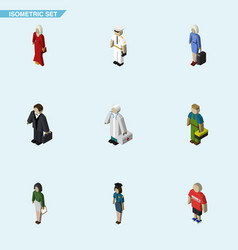 Isometric people set of pedagogue investor vector