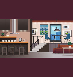 Kitchen living room interior design vector