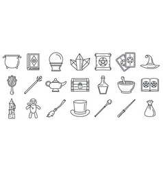 magic wizard tools icons set outline style vector image