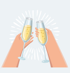 male and female hand holding champagne glasses vector image