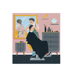 Man barbershop hairdresser character male cut vector