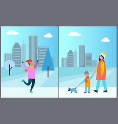 man in pink sweater mother and son walk with pet vector image