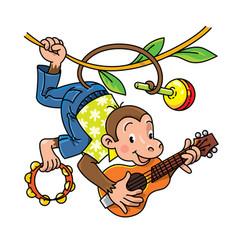 Monkey musician abc alphabet m for kids vector