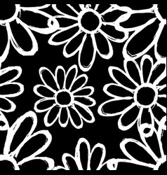 monochrome flowers on a black background vector image