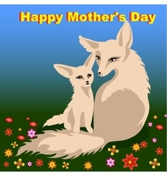 Mother s day card with two foxes vector image
