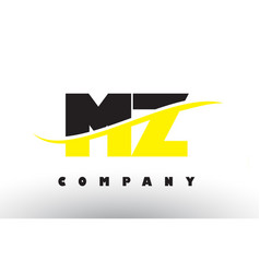 Mz m z black and yellow letter logo with swoosh vector
