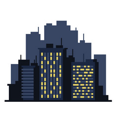 Night cityscape flat style landscape on white vector