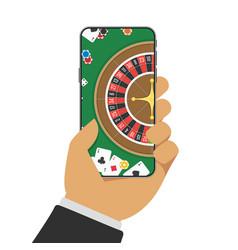 Online casino on smartphone vector