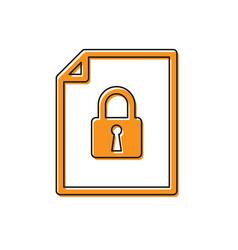 Orange document and lock icon isolated on white vector
