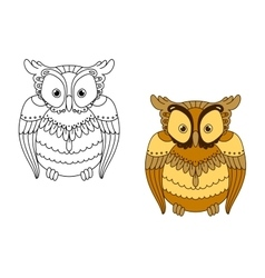 Owl with retro stylized brown feathers vector